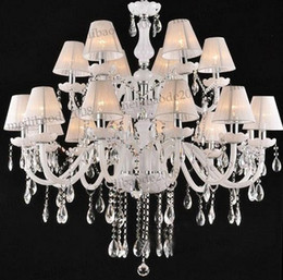 Wholesale Traditional Fabric - Modern Fashion Elegant White Fabric K9 Crystal Glass Chandelier Pendant Light Dining Room Lamp D950mm H900mm 18 Lights MYY6017