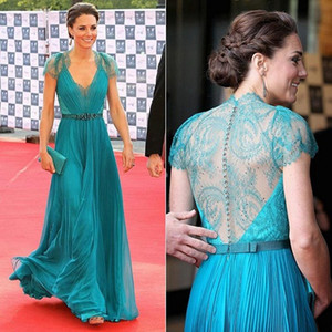 2014 Glamorous Lace cap sleeve illusion high back Kate's Evening dresses Pageant Dresses on Sale