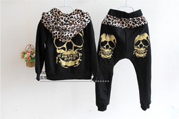 Wholesale Korean Long Coat Wholesale - Korean New Children Clothing sets Kids Girls Boys Skull Golden Leopard Hoodie Coat Outwear Tops +Harem Long Pants Trousers 2pcs Suit 593