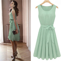 Wholesale Runway Dresses For Girls - Sexy Gorgeous Women'S Girls Chiffon Fashion Summer Dress Celebrity for Party Sundresses Slim Babydoll dress with Free Bow Belt 6033