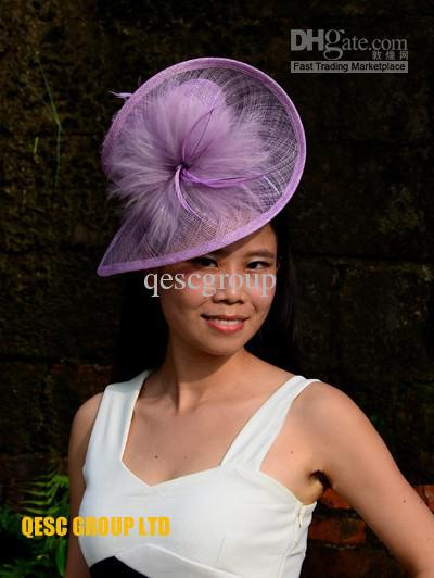 LT Purple Lavender Lilac HOT Sinamay Fascinator Sinamay Hat In SPECIAL  Shape With Feathers For Kentucky Derby a92f698204e