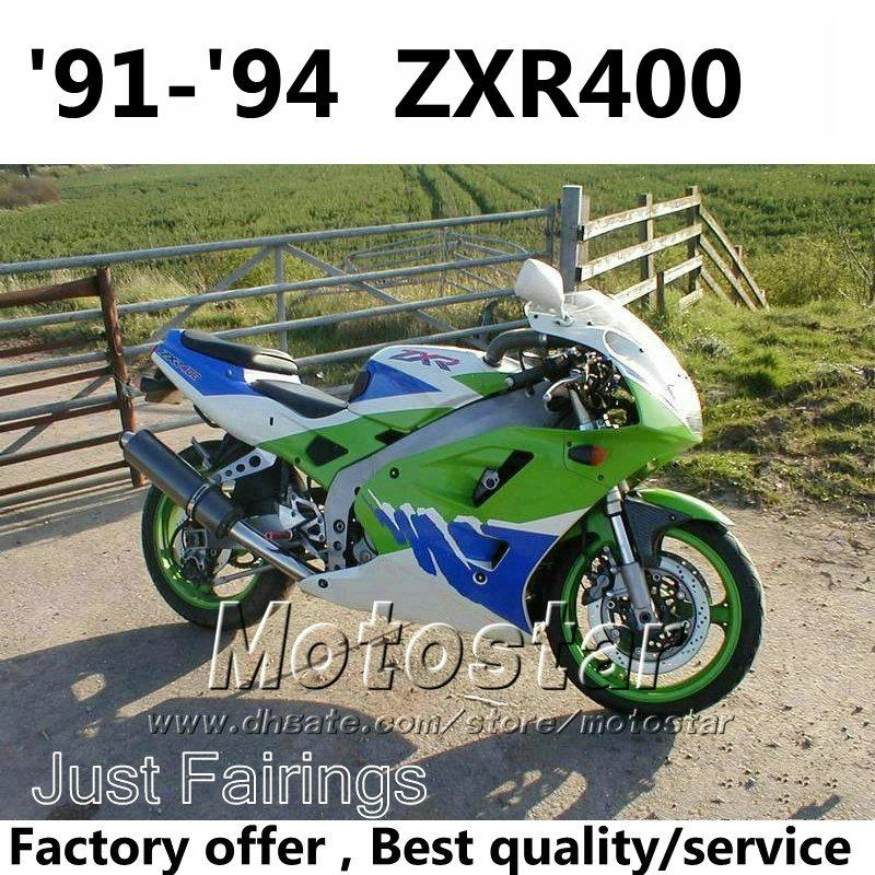 Fairings Kit For Kawasaki Zxr400 1991 1992 1993 1994 91 92 93 94 Zx R400 Green Blue White Fairing Kits Accept Custom Paint Motorcycle Sale