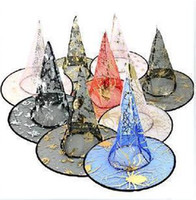 Wholesale Halloween Witches Hats - Wholesale - Free shipping-Halloween Costumes Halloween Party Props Cool Witches Wizard Hats Various Color Hot Sale