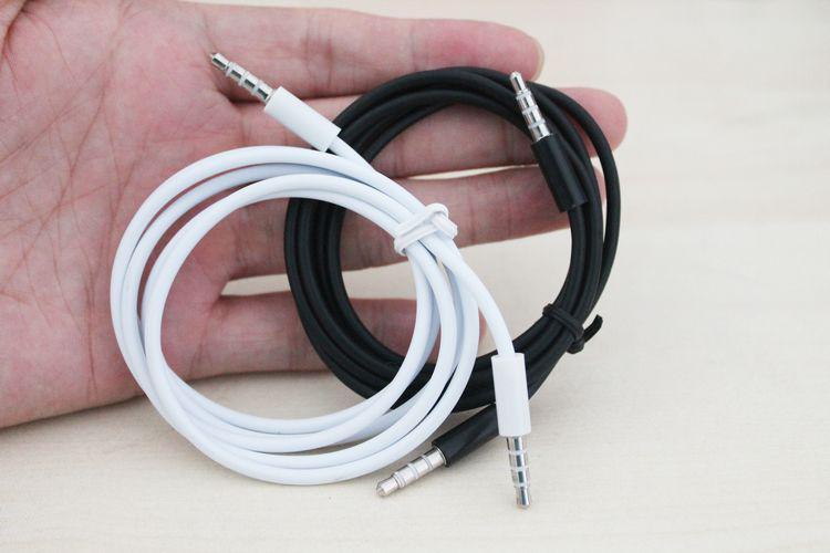 1 m blanco negro macho a macho 3.5 mm estéreo AUX cable de audio para mp3 altavoz teléfono celular a través de DHL /