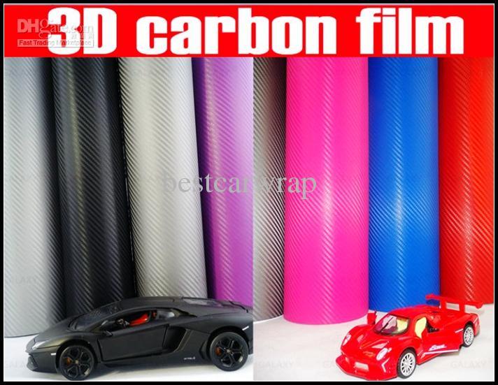 أحمر 3d ألياف الكربون ورقة ألياف الكربون الفينيل التفاف السيارة مع استنزاف الهواء للسيارة يغطي احباط vinyle 1.52x30 متر / لفة