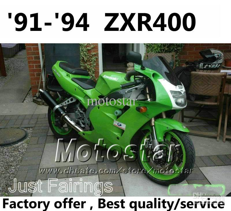 Fairings Kit For Kawasaki Zxr400 1991 1992 1993 1994 Green White Fairing Kits Zxr 400 91 92 93 94 Zx R400 Ol94 Fiberglass Motorcycle