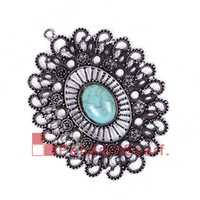 Wholesale diy charms jewellery resale online - 12PCS New Arrival DIY Jewellery Necklace Scarf Findings Mental Alloy Oval Plate Charm Turquoise Flower Pendant AC0234