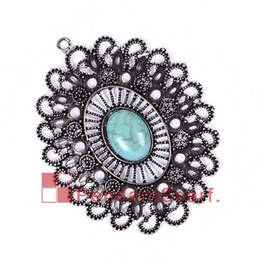 Wholesale Diy New Oval Plated - 12PCS LOT New Arrival DIY Jewellery Necklace Scarf Findings Mental Alloy Oval Plate Charm Turquoise Flower Pendant, Free Shipping, AC0234