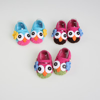 Wholesale Owl Crocheted Baby Shoes - Wholesale - boys' infant owl shoes wool Knitting animalsocks Baby Crochet handmade shoes Walking Shoes mixed colors first walker - JZX925G