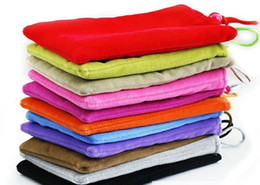 Wholesale Cellphone Sleeves - soft cloth sleeve cases 3 3.5 4 4.3 inch for cellphone camera mp3 mp4 mp5 Soft Flannel Sleeve Bag Case 5pcs MOQ