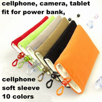 Wholesale Case For Mp5 - cellphone soft bags 5'' 6'' 7'' Soft Cotton Cell Phone Camera power bank Bags Pouch for iphone 4 4S Mp3 Mp4 Mp5 power bank Case 50pcs MOQC