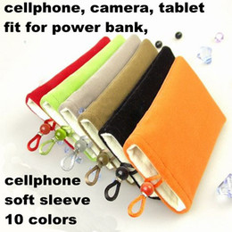 Wholesale Pink Mp3 Mp4 Mp5 - cellphone soft bags 5'' 6'' 7'' Soft Cotton Cell Phone Camera power bank Bags Pouch for iphone 4 4S Mp3 Mp4 Mp5 power bank Case 50pcs MOQC