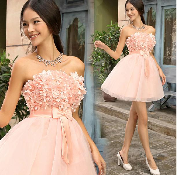Pink Organza Cheap Cocktail Dresses Above knee Strapless A-line Flowers Mini Short Cute Homecoming Dress Free Shipping New Arrival