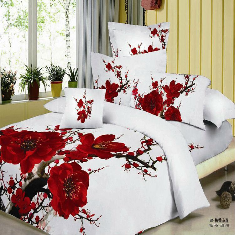Red Plum Blossom Bedding Set 3d Bedsheets Cotton King
