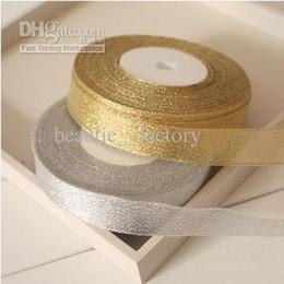 Cinta dorada de regalo online-10 rollo de oro brillo metálico joyería envoltura de regalo cinta 1 cm / 1.5 cm / 2 cm / 2.5 cm de oro (1 rollo 25 años, 22 m)