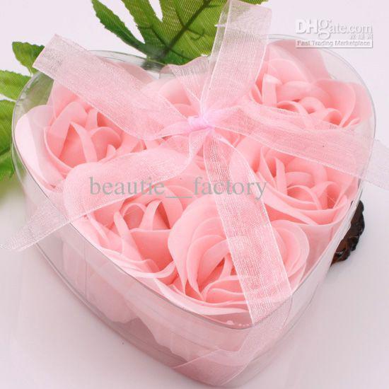 12 Boxes 6pcs Pink Decorative Rose Bud Petal Soap Flower Wedding Favor in Clear Heart-shaped Box choose color