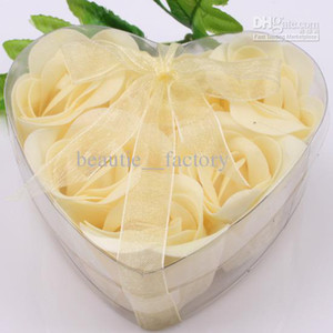 Wholesale 24 Boxes Yellow Decorative Rose Bud Petals Soap Flower Wedding Favor in Clear Heart shaped Box