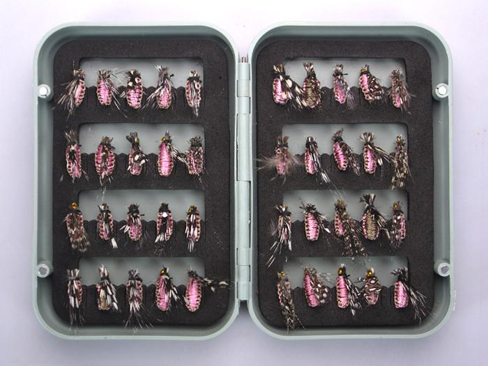 TROUT FLIES FISHING FLY DRY WET HOOK BOX PINK BAIT