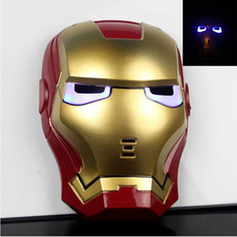 Wholesale Spider Man Mask Wholesale - Glow In The Dark LED Iron Man Spider Man Mask Movie Guy Mask for Halloween Cosplay party Costume Theater Prop Free Shipping