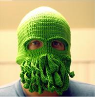 Wholesale Day Tentacle - Cthulhu wool HAT mask ski squid octopus green cap tentacles sea monster reddit
