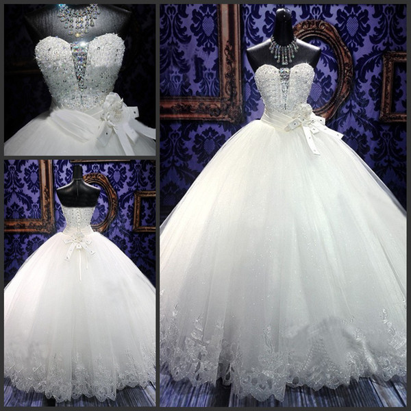 Hot Sell Princess Wedding Dresses 2015 Spring Elegant Ball Gowns Bling Beaded Crystal Sweetheart Neck Lace Sold Out