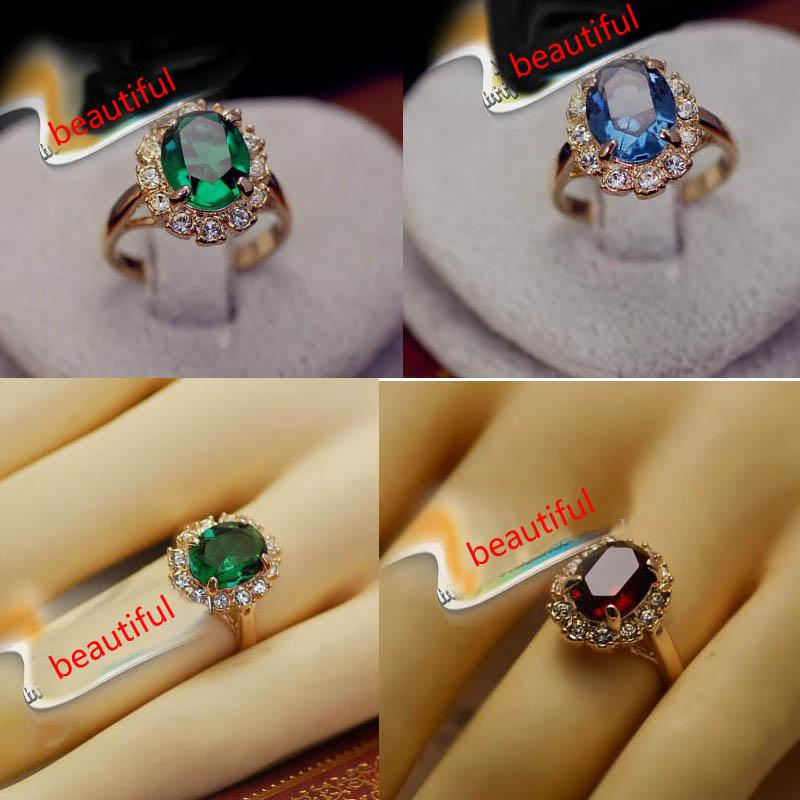 2018 Elegant Square Simulated Emerald Gemstone Wedding Ring 18k