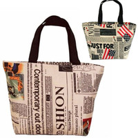 Wholesale Newspaper Shoulder Bags - USA FLAG & NEWSPAPER HANDBAGS US Star Stripes Shopping Tote Shoulder Bags women ladies cheap handbag