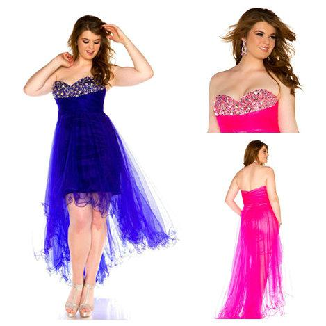 Wholesale - Plus Size 2014 New Sexy Prom Dresses Sweetheart Beaded Oganza Hi-lo Evening Dresses Homecoming Cocktail Dresses