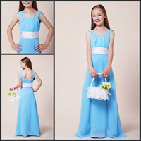 Wholesale Champagne Young Bridesmaids Dress - Light Blue Square Junior Bridesmaid Dresses Young Girls Party Gowns
