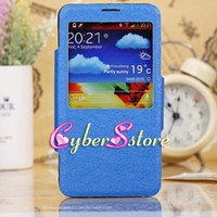Wholesale Luxury Front S VIEW Flip Cover Silk PU leather Case Cover With Crystal plastic screen protector For Samsung Galaxy Note N9000 III Note