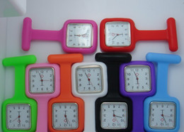 Wholesale Wholesale Medical Pins - 100pcs lot Square Silicone Nurse Medical Watch Watches With Pin High Quality 12color for choice free ship best2011