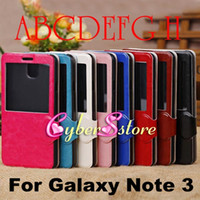 Wholesale High Quality S VIEW Flip Cover Retro PU leather Case Cover With Crystal plastic screen protector For Samsung Galaxy Note N9000 III Note
