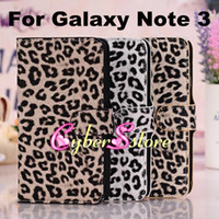 Wholesale Leopard Wallet PU Flip leather Case Cover With Credit Card Slot Slots Pouch Stand For Samsung Galaxy Note N9000 III Note