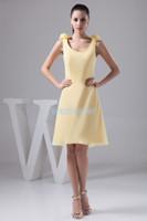 mariées, femmes de ménage, robes, fleur achat en gros de-Livraison gratuite mode 2018 nouveau design formales mariées robe de demoiselle fleurs à la main Personnalisé taille / couleur courtes robes de soirée jaune