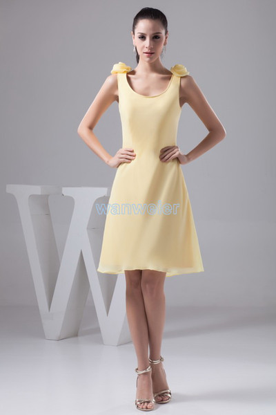 free shipping fashion 2018 new design formales brides maid dress handmade flowers Custom size/color short yellow evening dresses