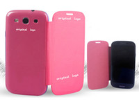 Wholesale S3 Flip Case Retail - Flip Leather Case Cover for Samsung Galaxy S3 S 3 SIII i9300 with Retail Package DHL EMS Free Ship