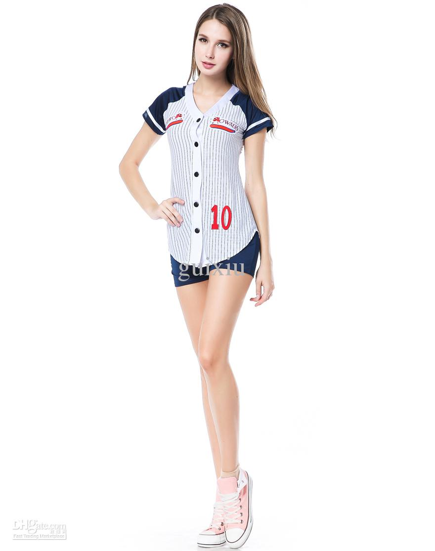 cosplay sexy sports costumes for women baseball player costume set grand slam dress short sleeve with panty h39153 - Baseball Halloween Costume For Girls
