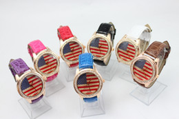 Wholesale Usa Wrist Watches - 2015 Fashion Quartz USA National Flag Watch Leather Clock unisex Watches Casual Lady Wristwatches Sports Wrist 7color free shipping