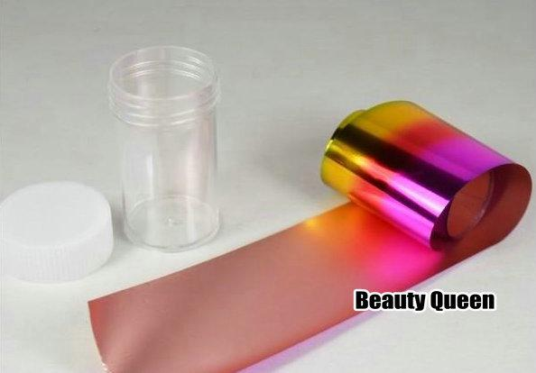 100 Farben mischen glitzernde Nail Art Transfer-Nagel-Folien-Aufkleber Verpackungs-Nagel-Spitze-Dekoration einfacher Klebe Craft Glanz Folie Acrlic Gel New 2013
