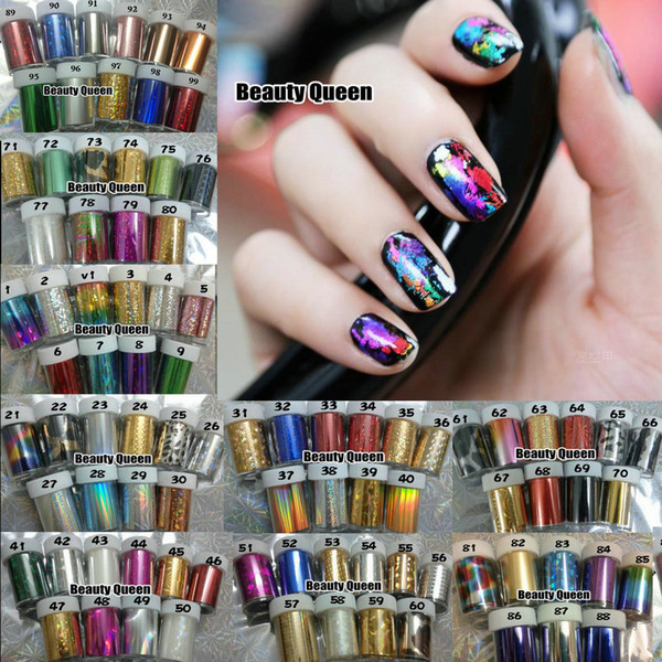 top popular 100 Colors MIXED GLITZY Nail Art Transfer Nail Foil Sticker Wrap Nail Tip Decoration Easy Adhesive Craft Shine foil Acrlic Gel New 2013 2019