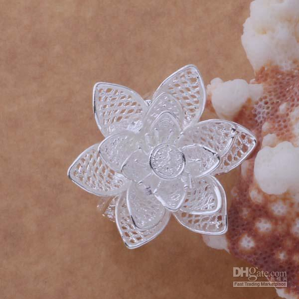 High quality 925 silver plated flower rings fashion party jewelry christmas gift