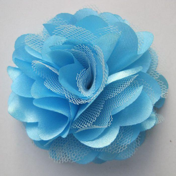3'' Gauze flower head brooch For Baby Headbands Girls Corsage Flower Hair Accessories Gauze Flowers DIY Photography prop