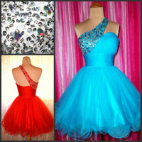 Wholesale Coral Mini Ball Gown - One Shoulder Beaded Cocktail Dresses Short Prom Homecoming Dress Custom Made Cheap High Quality Graduation Formal Party Gowns
