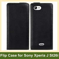 Wholesale Leather Cases For Xperia J - Wholesale Fashion Genuine Leather Case for Sony Xperia J ST26i Flip Cover Case for Sony-Ericsson Xperia J ST26i 10pcs lot Free Shipping