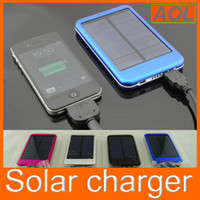 Wholesale Portable Backup Laptop Battery - portable Solar Panels 5000mAh Portable Battery Backup Battery power bank Solar Battery Charger For Cell phone tablet PC digital camera MP3
