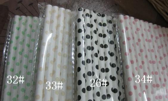 Free Ship / 20 Packs Coloré Pois À Rayures De Papier Pailles De Fête Disco De Mariage Fournitures Pailles De Papier