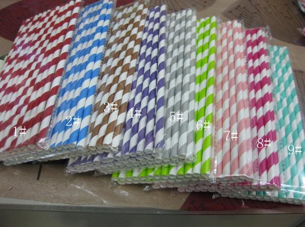 Free Ship 500 pcs / 20 Packs Coloré Pois À Rayures De Papier Pailles De Fête Disco De Mariage Fournitures Pailles De Papier