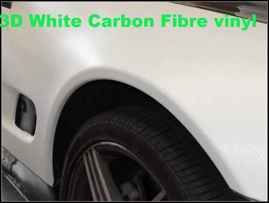Película de vinilo de vinilo de fibra de carbono 3D de primera calidad en blanco Hojas de fibra de carbono blanco 3d vinilo autoadhesivo Espesor: 0,2 mm 152 x 30 m / rollo