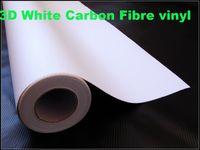 углеродная пленка белая оптовых-Наградные белые листы волокна углерода фильма обруча автомобиля винила волокна углерода 3д белые само-слипчивая толщина винила:0.2 мм 152кс30м / ролл