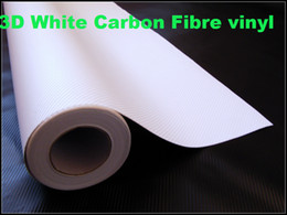 Wholesale White Vinyl Sheets - Premium White 3D Carbon Fibre Vinyl Car Wrap Film 3d white carbon fiber sheets self adhesive vinyl Thickness:0.2mm 152x30m  Roll